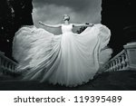 beautiful woman in a white dress, wedding theme, freedom - stock photo