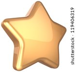 Golden star gold decoration. Prestige congratulation win very important ranking top quality excellent service luxury favorite best icon concept. Detailed 3d rendering. Isolated on white background - stock photo