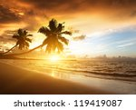 Stock photo sunset on the beach of caribbean sea dominican republic 119419087