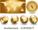 world map with globes | Shutterstock .eps vector #119435677