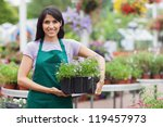 garden center worker carrying... | Shutterstock . vector #119457973