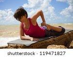 yoga practice. woman doing legs ... | Shutterstock . vector #119471827