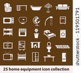 25 home equipment icon collection - stock vector