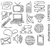 sketch communication images - stock vector