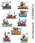 set of fish boats    cartoon