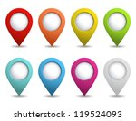 set of bright map pointers | Shutterstock .eps vector #119524093
