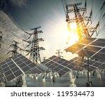 modern wind turbines green... | Shutterstock . vector #119534473