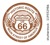 Abstract grunge rubber stamp with the text Historic Route 66, Arizona, vector illustration - stock vector