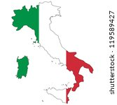 Italy Vector Map With The Flag...