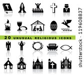 set vector icons of christian... | Shutterstock .eps vector #119608837