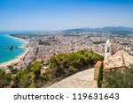 Panorama of Blanes from  the top of the Castle in summertime. The start point of Costa Brava. Girona. - stock photo
