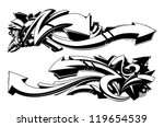 Black and white graffiti backgrounds. Horizontal graffiti banners. Vector illustration. - stock vector