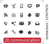 20 communication signs, icons set, vector - stock vector