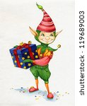 elf with gift by watercolor | Shutterstock . vector #119689003