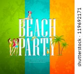vector illustration of banner for beach party with ladies - stock vector