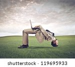 a man gets upside down while...   Shutterstock . vector #119695933