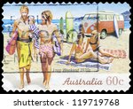 AUSTRALIA - CIRCA 2010: A stamp printed in AUSTRALIA shows the Surfers on Beach, 1970s, Long Weekend series, circa 2010 - stock photo