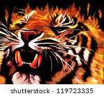 """Предпросмотр схемы вышивки  """"Огненный тигр """" ."""