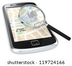 Address. Black Smartphone with a GPS map with a 3D house and a Magnifying Glass. - stock photo