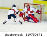 ice hockey players - stock photo