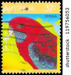 AUSTRALIA - CIRCA 1987: A Stamp printed in AUSTRALIA shows the Rosella, Fauna series, circa 1987 - stock photo