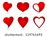 heart shape original design set - stock vector