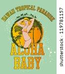 hawaii paradise girls | Shutterstock .eps vector #119781157