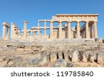 A view of the Doric temple of Aphaia on Aegina island in the Saronic Gulf, south of Athens. - stock photo