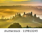 Tuscany at early morning - stock photo