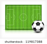Football (soccer) field stadium with ball on green grass, vector illustration - stock vector