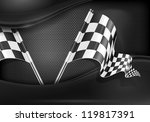 Two crossed checkered flags on mash background, vector illustration - stock vector