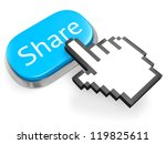 Blue oval button Share and hand cursor. Isolated on white. 3d illustration. - stock photo