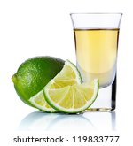 gold tequila shot with lime... | Shutterstock . vector #119833777