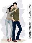 romantic couple of young people ... | Shutterstock .eps vector #119858293