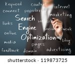 business man writing search engine optimization  ( SEO ) concept - stock photo