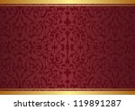 crimson and gold background with ornaments - stock vector