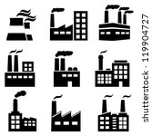 Industrial building factory and power plants icon set - stock vector