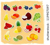 retro fruit set | Shutterstock .eps vector #119907097