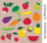 fruits and vegetables vector set | Shutterstock .eps vector #119915137