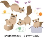 Stock vector collection of playful cat isolated on white background 119949307