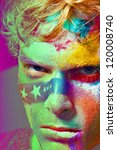 Fashion hulk color Face art model portrait graphic line whith white star - stock photo