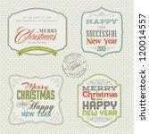 set of vintage styled christmas ...   Shutterstock .eps vector #120014557