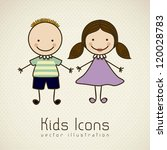 illustration of kids icons ... | Shutterstock .eps vector #120028783