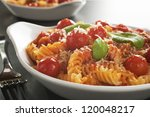 a baked dish of fusilli or... | Shutterstock . vector #120048217