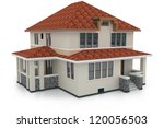 3d house isolated on white... | Shutterstock . vector #120056503