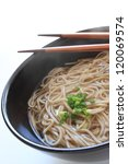 Japanese cuisine, soba noodle with spring onion for new year and healthy food image - stock photo