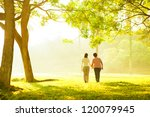 Asian senior mother and adult daughter holding hands walking at outdoor park - stock photo