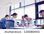 group of happy young  business... | Shutterstock . vector #120080443