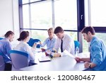 group of happy young  business... | Shutterstock . vector #120080467