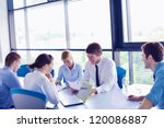 group of happy young  business... | Shutterstock . vector #120086887